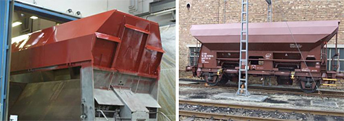 Photos: Backside of the coal wagon during application of the coatings (left) and coal wagon after application of the coatings (right).